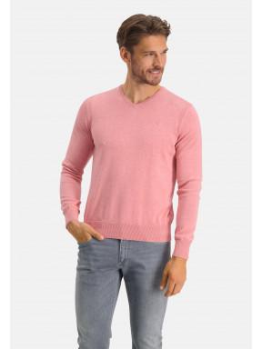 Pull-en-coton-bio-à-col-V---rose-uni