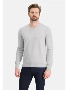 Pull-en-coton-bio-à-col-V---gris-clair-monochrome