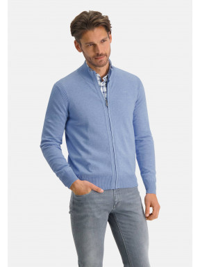 Gilet-en-coton-bio-à-logo-sur-la-poitrine---bleu-uni