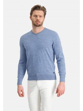 Pull-en-coton-mouline---bleu/gris-bleu