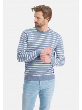 Pull-encolure-ronde-à-rayures---mid-blue/greige