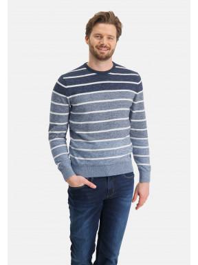 Pull-encolure-ronde-à-rayures---blue-foncé/gris-bleu