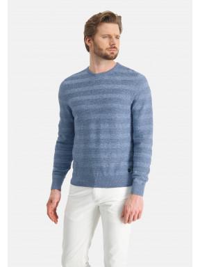 Pull-mouliné-à-encolure-ronde---bleu/gris-bleu