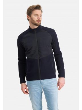 Uni-vest-met-nylon-details---donkerblauw-uni