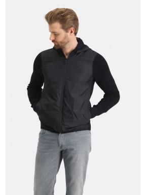 Vest-van-een-katoen-mix---donkerblauw-uni