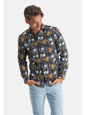 Overhemd-met-print-en-lange-mouwen---donkerblauw/mango