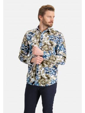 Overhemd-met-botanische-print---kobalt/bladgroen