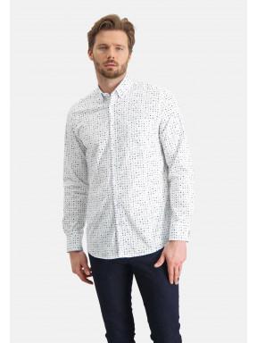 Overhemd-met-een-all-over-print---lichtblauw/kobalt