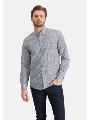 Overhemd-met-grafische-print---kobalt/mango