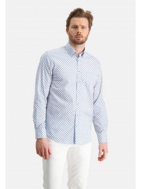 Regular-fit-overhemd-met-print---wit/kobalt