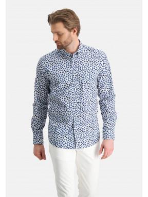 Katoenen-overhemd-met-stretch---kobalt/wit