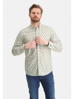 Overhemd-met-all-over-print---bladgroen/wit