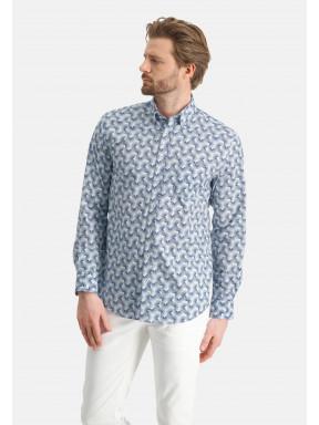 Overhemd-met-all-over-print---kobalt/wit
