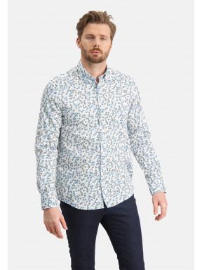 Overhemd-met-bloemenprint---wit/kobalt