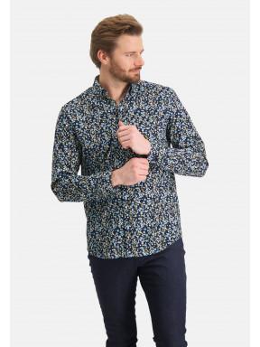 Overhemd-met-bloemenprint---donkerblauw/kobalt
