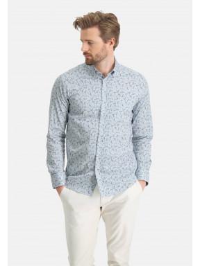 Stretch-overhemd-van-katoen---lichtblauw/bladgroen