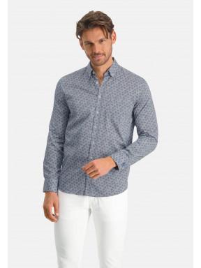 Overhemd-met-bloemenprint---kobalt/mango
