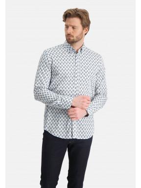 Overhemd-met-een-satijn-look---kobalt/lichtblauw