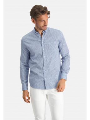 Overhemd-van-katoen-stretch---kobalt/lichtblauw