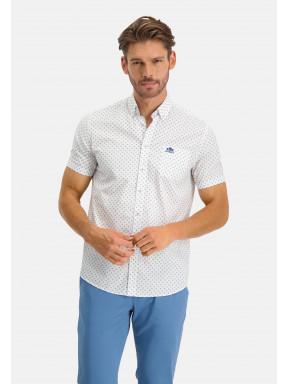 Bedrukt-overhemd---zwavelgeel/kobalt