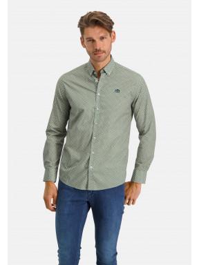 Overhemd-met-print-en-lange-mouwen---zwavelgeel/bladgroen