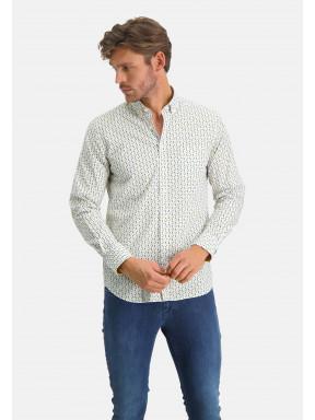 Overhemd-met-grafische-print---zwavelgeel/bladgroen