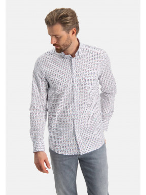 Overhemd-met-grafische-print---brique/zand