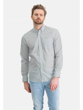 Overhemd-met-grafische-print---bladgroen/kobalt