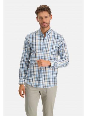 Geruit-overhemd---kobalt/zand