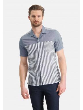 Overhemd-met-bowling-kraag---kobalt/wit