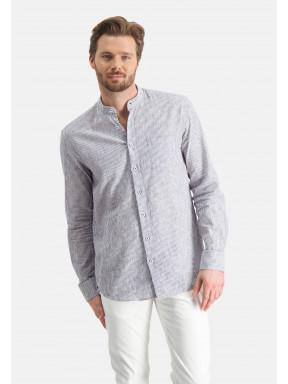 Chemise-à-rayures-et-col-montant---cobalt/blanc