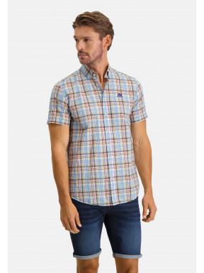 Geruit-overhemd-met-korte-mouwen---lichtgeel/bladgroen