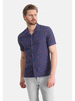 Overhemd-van-een-linnen-mix---kobalt/brique