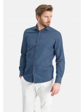 Overhemd-van-100%-katoen---grijsblauw-uni