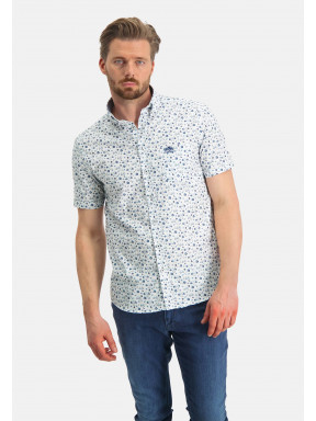 Bedrukt-overhemd---kobalt/wit
