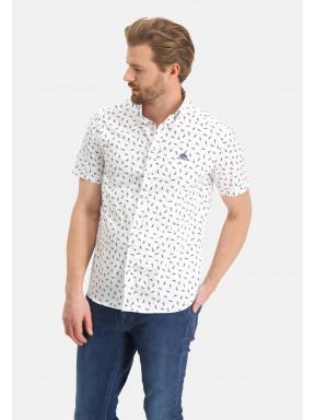 Overhemd-met-vogelprint---mango/grijsblauw