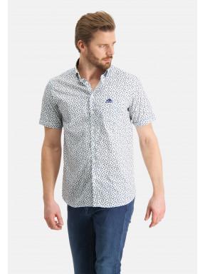 Overhemd-met-een-all-over-print---bladgroen/grijsblauw