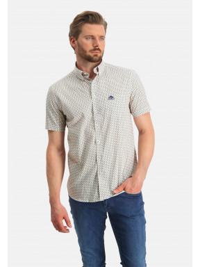 Poplin-overhemd-met-grafische-print---zwavelgeel/kobalt