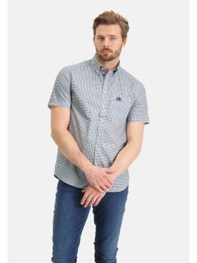 Poplin-overhemd-met-grafische-print---bladgroen/grijsblauw