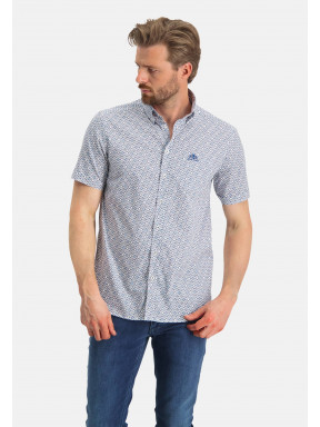 Korte-mouw-overhemd-met-print---kobalt/middenblauw