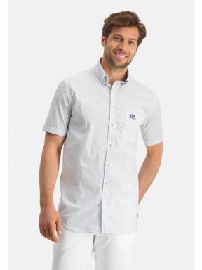 Button-down-overhemd-met-korte-mouw---kobalt/middenblauw