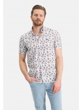 Korte-mouw-overhemd-met-bloemenprint---roze/kobalt