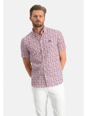 Bedrukt-overhemd---roze/wijnrood