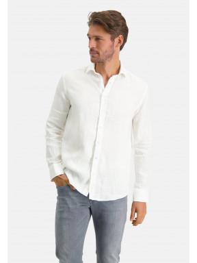 Chemise-en-lin-à-cut-away---blanc-uni