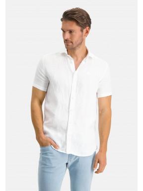 Chemise-en-lin-à-manches-courtes---blanc-uni