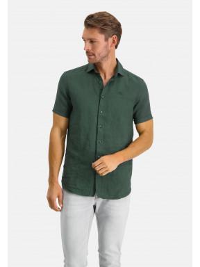 Chemise-en-lin-à-manches-courtes---vert-foncé-monochrome