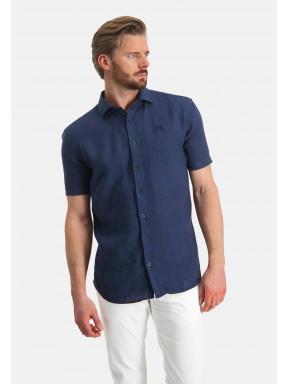 Chemise-en-lin-à-manches-courtes---blue-foncé-uni