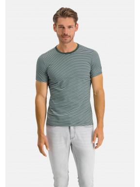 Gestreept-T-shirt-met-ronde-hals---donkergroen/wit