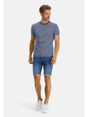 Gestreept-T-shirt-met-ronde-hals---kobalt/wit