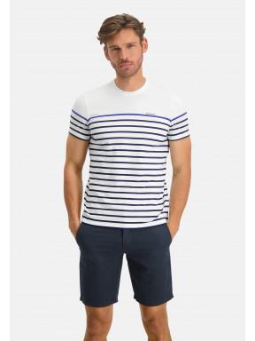 T-shirt-encolure-ronde-à-rayures---blanc/cobalt